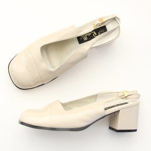 60s Vtg Cream Slingback Heels Chunky Square Toe 9